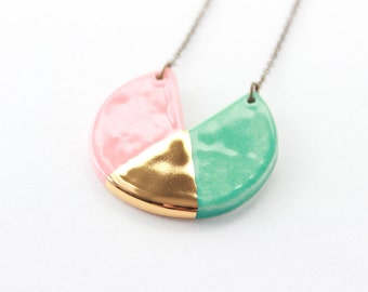 Geometric Necklace, Ceramic Jewelry, Gifts for Her, Colorful Necklace, Color Block Necklace, Gold Jewelry, Gifts under 50, Clay Jewelry