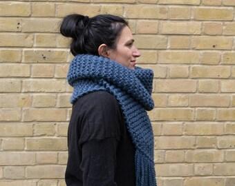 Knit Oversized Scarf, Extra Long Scarf, Knit Chunky Scarf, Oversized Chunky Knit Scarf, Super Scarf, Blue Knit Scarf, Chunky Oversized Scarf
