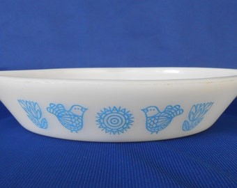 "Glasbake ""Blue Birds"" Oval Divided Dish J-2352"
