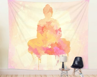 WALL TAPESTRY, watercolor Buddha wall hanging, large wall decor, Buddha tapestry, yellow pink zen Tapestry, fabric tapestry, interior design