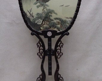 Estate Vintage Detailed Threaded Silk Oriental Fan w. Nice Ornate Wooden Stand