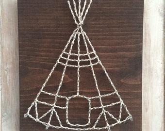 Teepee String Art, Adventure Nursery, Woodland Nursery, String Art, Teepee Decor, Adventure Decor, Adventure String Art