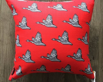 Red Canada Goose Pattern Pillow 16x16