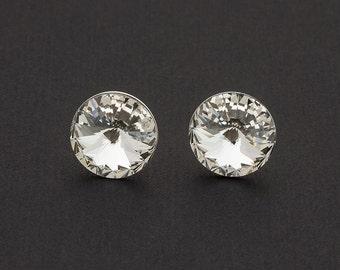 Rivoli Swarovski Stud Earrings Clear Swarovski Studs Sterling Silver Earrings Post Earrings Bridal Earring Bridesmaid Gift Swarovski Jewelry