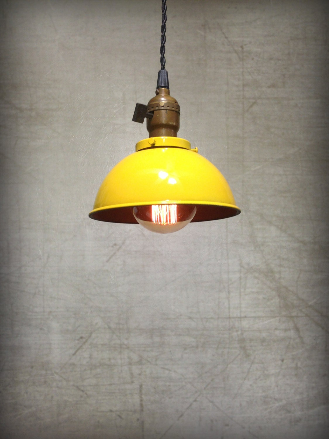 Ceiling Pendant Light Yellow Rustic Metal By Retrosteamworks