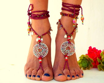 Red power. Barefoot Sandals, Barefoot, Beach, Jewelry,  gemstones sandals, Hippie Sandals, Foot Jewelry, Toe Thong, festival accessories