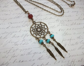 Dreamcatcher antique bronze necklace with turquoise and red jasper stones