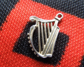 Sterling Harp Charm Musical Irish Celtic Lyre Harp Charm Sterling Silver Charm for Bracelet from Charmhuntress 03680