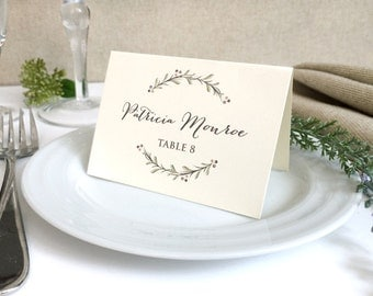 Ivory Wedding Place Cards - Rustic Wedding Name Cards - Printed Wedding Place Cards - Floral Wreath