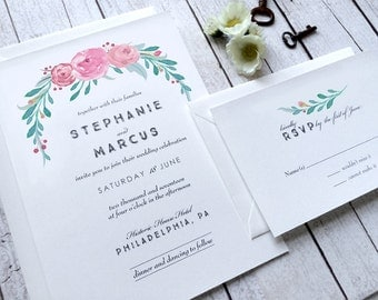 Floral Wedding Invitations - Rustic Country Wedding Invitation With RSVP - Spring Wedding - Summer Wedding - Boho Chic - Watercolor
