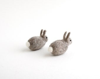 DIY Kit - Two Baby Bunnies Needle Felting Kit - Needle Felted Animal Kit - Easter Gift