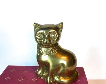 Vintage Brass Cat With Flowers
