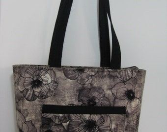 Floral Tote Bag, Knitting Bag, Shopping Bag,  Large Tote Bag