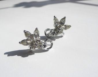 Vintage Coro Clear Rhinestone Flower Earrings   screw back