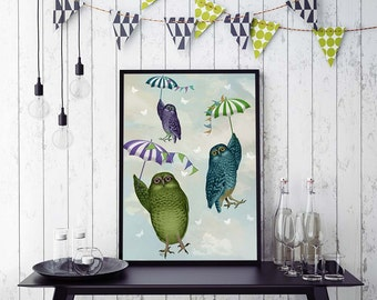 Kids room art Owls with Umbrellas Owl print owl decor Cute animal art for kids rooms girls nursery art boys nursery art nursery decor