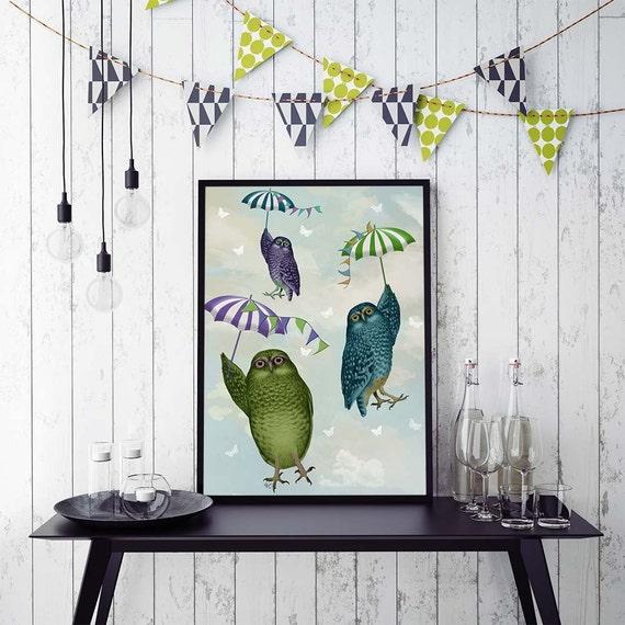 Kids Room Art Owls With Umbrellas Owl Print Owl Decor Cute