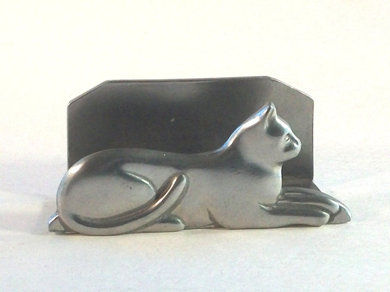 Pewter cat business card holder 1987 seagull pewter signed for Cat business card holder