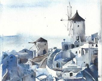 """Original watercolor painting Santorini 8 1/8 x 8 1/8"""""""