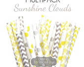SUNSHINE CLOUDS, Yellow & Gray Paper Straws, Multipack, Chevron, Dots, Baby Shower, Grey, 25 Straws, Wedding, Birthday, Damask, Party