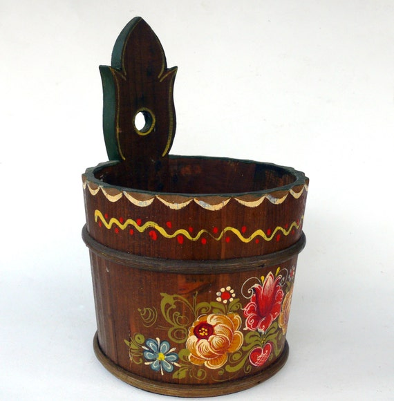 Wooden Plant Holder Hanging Wooden Planter Hand Painted