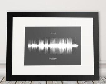 Personalised Soundwave Print, Song Sound Wave Poster, Framed Personalized Voice Waveform Art