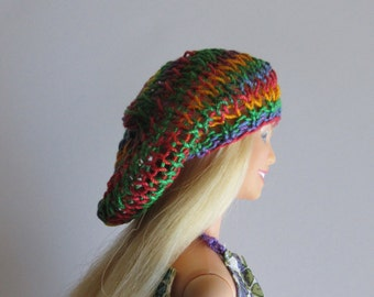 Slouchy beanie for fashion dolls. Handmade to fit fashion dolls like Barbie