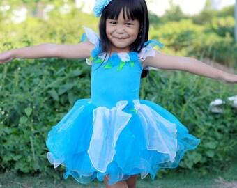 Blue Fairy dress, Blue Flower fairy costume, girl's fairy costume, birthday fairy dress