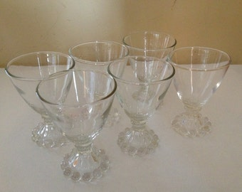 Vintage set of (6) Anchor Hocking Juice  Cordial Glasses Candlewick Berwick Bubble Boopie Pattern