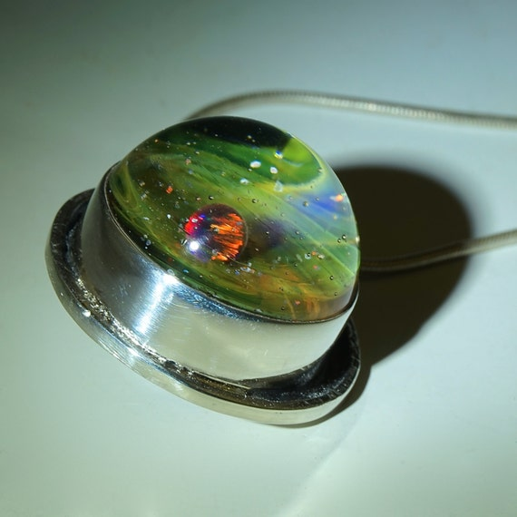 Blown Glass Planet Pendant Sterling Silver Cage by ...
