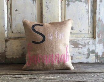 Burlap/Canvas Pillow - Kids Name Pillow | Baby Name Pillow | Personalized pillow | Child's room decor | Baby shower gift | Baby Girl gift