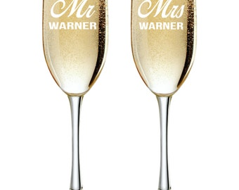 Personalized Champagne Glasses, Gifts for Couples, Mr and Mrs Flutes, Personalized Toasting Glasses, Custom Champagne Glasses, Set of 2