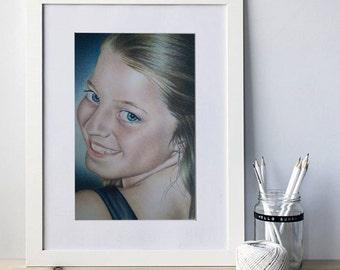 Custom portrait, pencil portrait, photos to drawing, ONE person in color, pencil sketch portrait, pencil portrait, child portrait, portrait