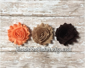 Fall Shabby Chic Flower Hair Clip Set, Coral Tan & Brown Flower Barrettes, Girls Alligator Clips, Toddler Hair Accessories, Adult Hair Clips