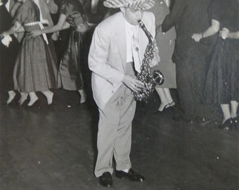 Vintage 1940's Wedding Reception Man In Funny Hat Plays A Mean Saxophone Photograph - Free Shipping