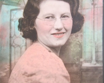 Original Hand Tinted 1941 Young Woman in Glasses Photo Booth Photo - Free Shipping