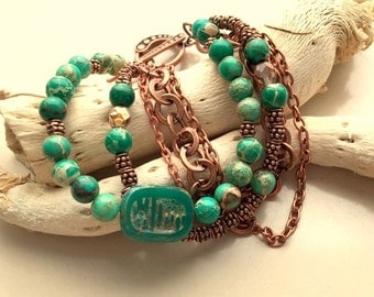 Green Handmade Glass Scarab, Sea Sediment Jasper, and Copper Chains Multistrand Bracelet