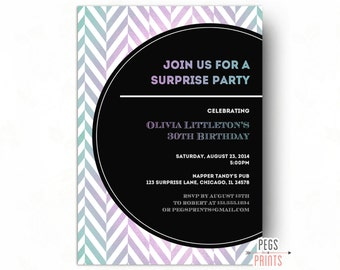 Adult Surprise Birthday Invite 40th Birthday Invitation for