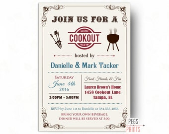 Cookout Invitation - Summer Cookout Invitation (Printable) BBQ Invitation - Summer BBQ Invite - Summer Party Invitation - Family BBQ