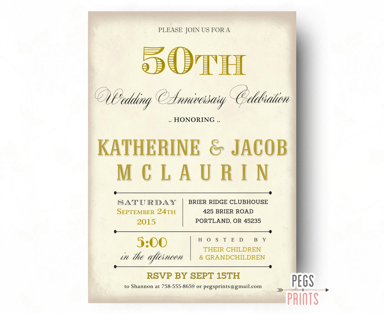 50th anniversary invitation 50th wedding anniversary