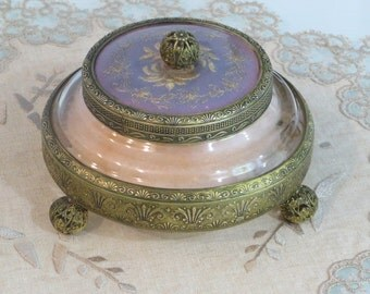 Beautiful vintage antique Art Deco era ormolu pierced and engraved metal glass vanity powder jar or jewelry trinket box