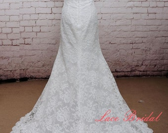 Mermaid Style Wedding Dress Ivory Bridal Gown with Long Train Classic Lace Wedding Dress with Open Back