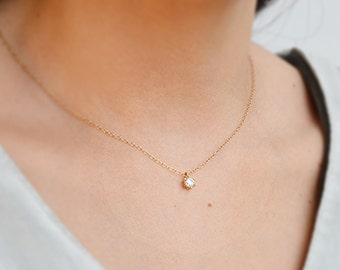 Delicate cz necklace,layered necklace,gold necklace,solitaire necklace,tiny diamond necklace,bridesmaids gift,dainty gold necklace - A125 /1
