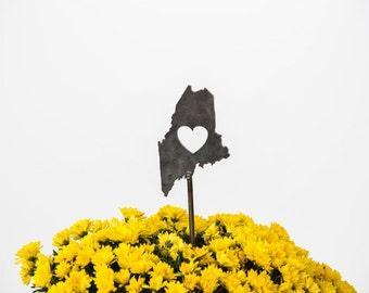 Maine State Heart Garden Art Stake