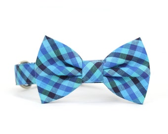 Blue Gingham Dog Bow Tie Collar Check Checkered Jewel Tone Wedding Dog Bowtie Collar