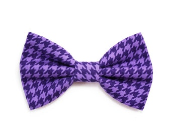 Purple Houndstooth Dog Bow Tie Cat Bow Tie Violet Classic Dog Bowtie