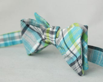 Men's Bow Tie – SUMMER CLEARANCE - Lime Green, Grey, and Blue Plaid Cotton