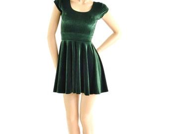 Forest Green Stretch Velvet Cap Sleeve Skater Dress Fit & Flare 153933