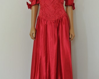 Alfred Angelo Red Dress Cranberry 1980s Prom Dress Princess Cut Party Gown/ M / L