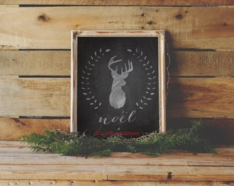 Rustic DEER Christmas Holiday Noel Noël Chalkboard Print- Instant Download: Whimsical Woodland Illustration by LostBumblebee 8x10