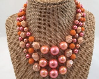Vintage Bead Necklace- Statement Necklace- Made in Japan- Wife Gift- Pink Necklace- Gift for her- Gift Ideas- Gift for Mom- Valentines Da